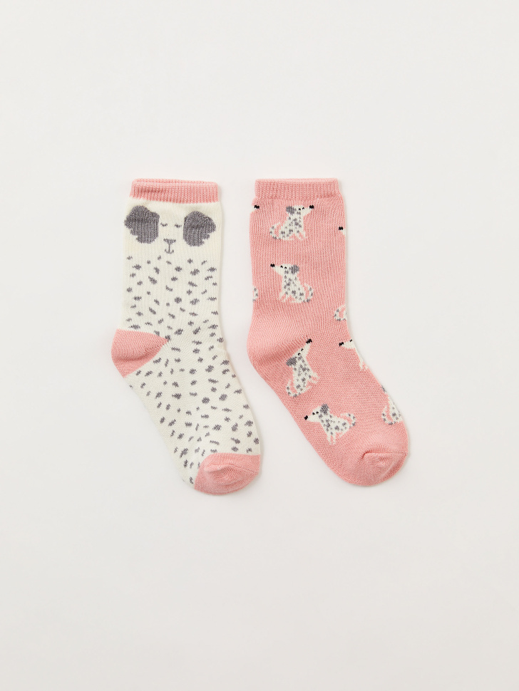 Набор из 2 пар носков для девочек (принт, 16-18)