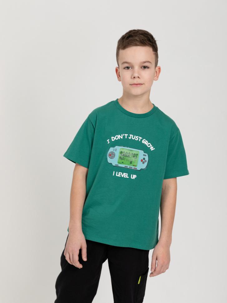 SELA Футболка с интерактивным принтом для мальчиков (зеленый, 122/ 7-8 YEARS)