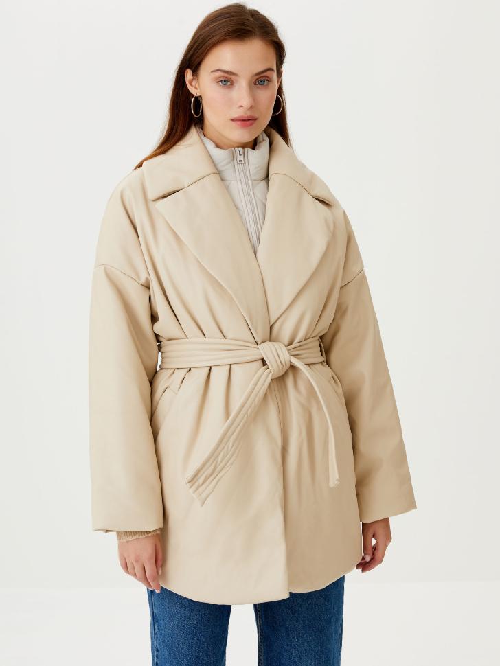 Дутое пальто из экокожи (бежевый, S)