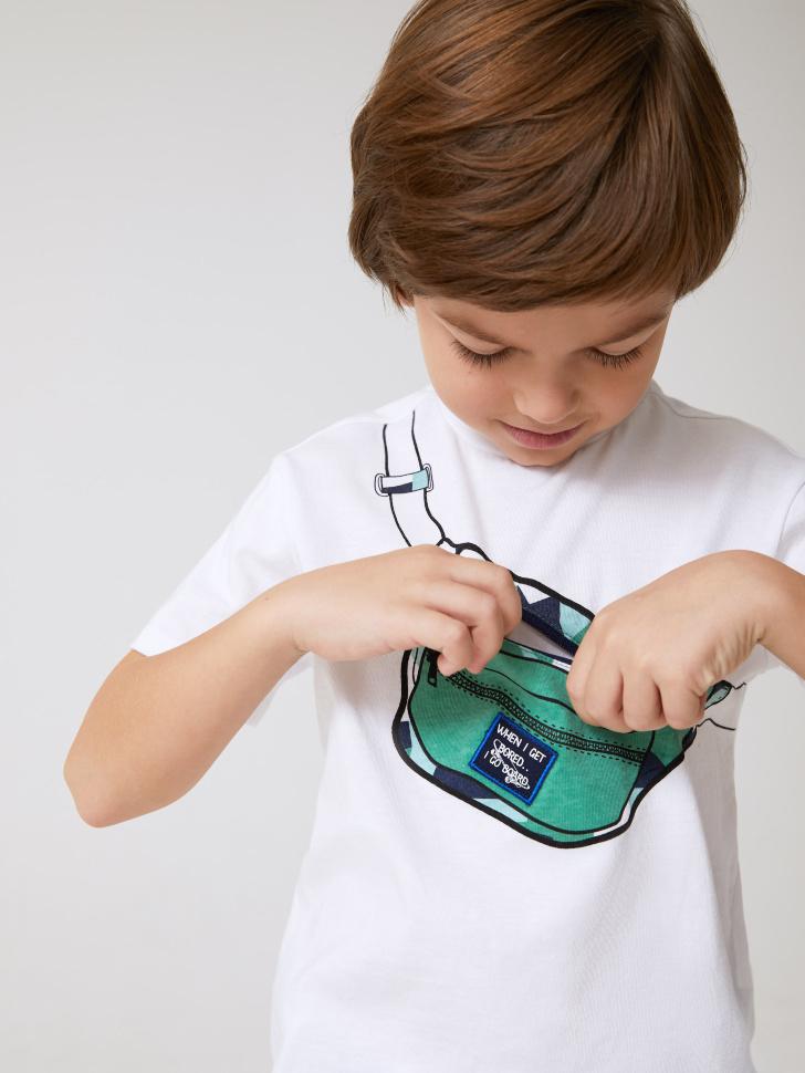 Купить со скидкой футболка для мальчиков с карманом в виде сумки (белый, 98)