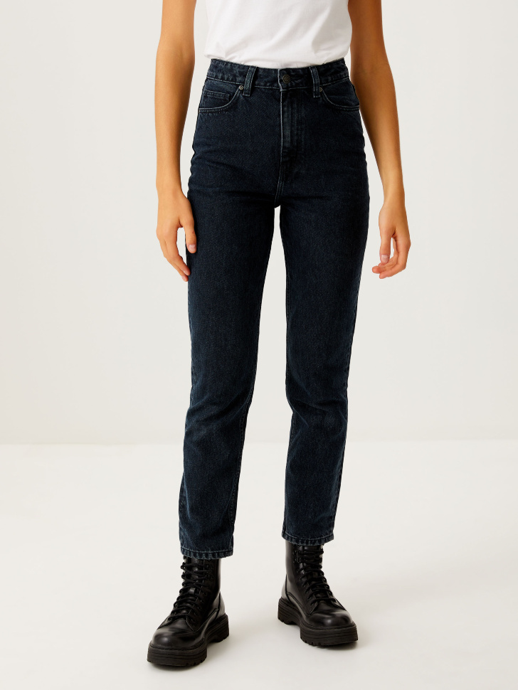 Укороченные джинсы Mom fit (синий, L)