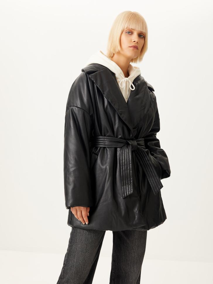 Дутое пальто из экокожи (черный, L)