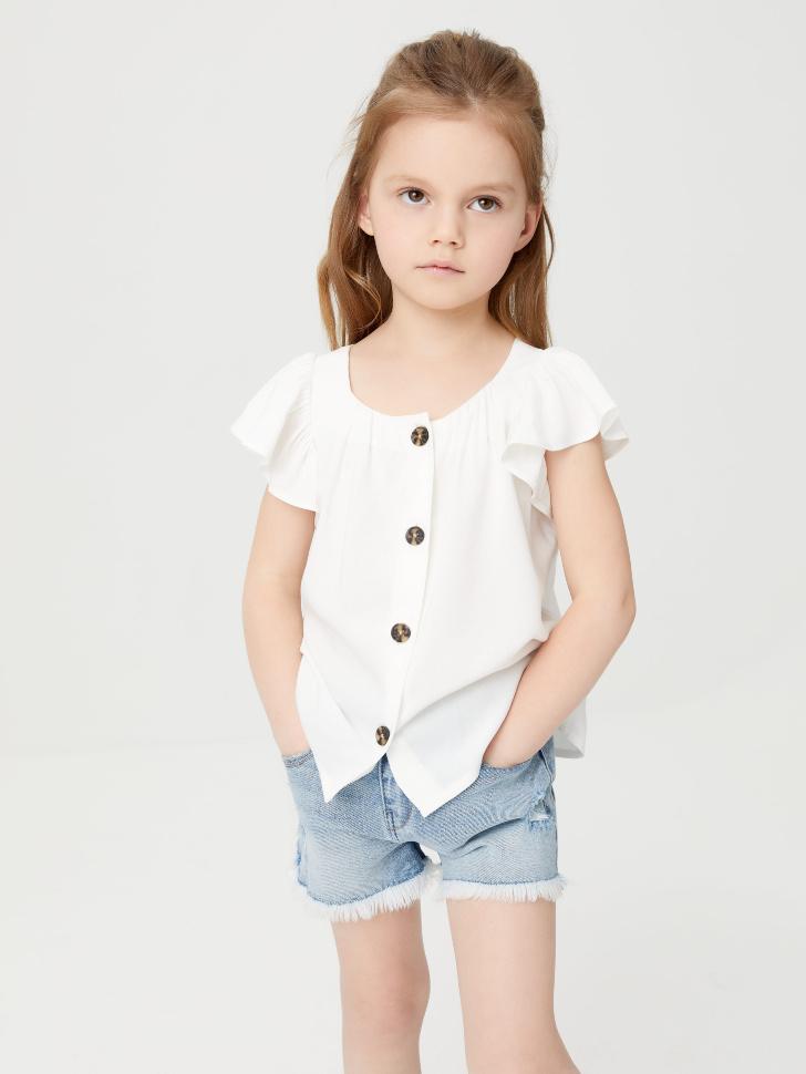 Вискозная блузка для девочек (белый, 110/ 5-6 YEARS)