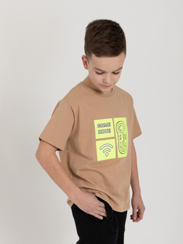 SELA Футболка с интерактивным принтом для мальчиков (бежевый, 140/ 10-11 YEARS)
