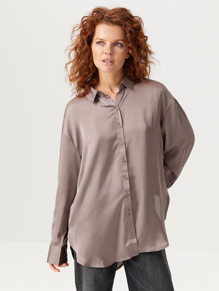 Сатиновая объемная рубашка (коричневый, M)