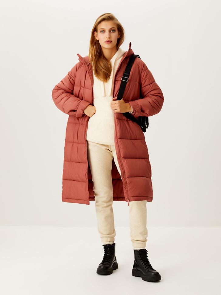 Базовое стеганое пальто (коричневый, L)