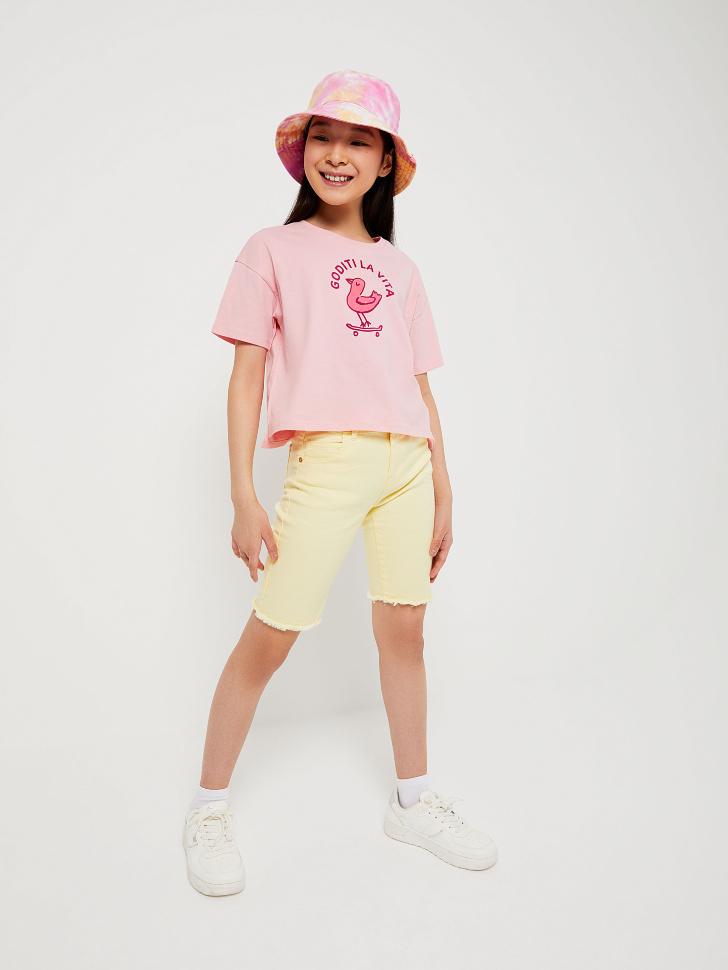 шорты джинсовые для девочек (желтый, 152/ 12-13 YEARS)