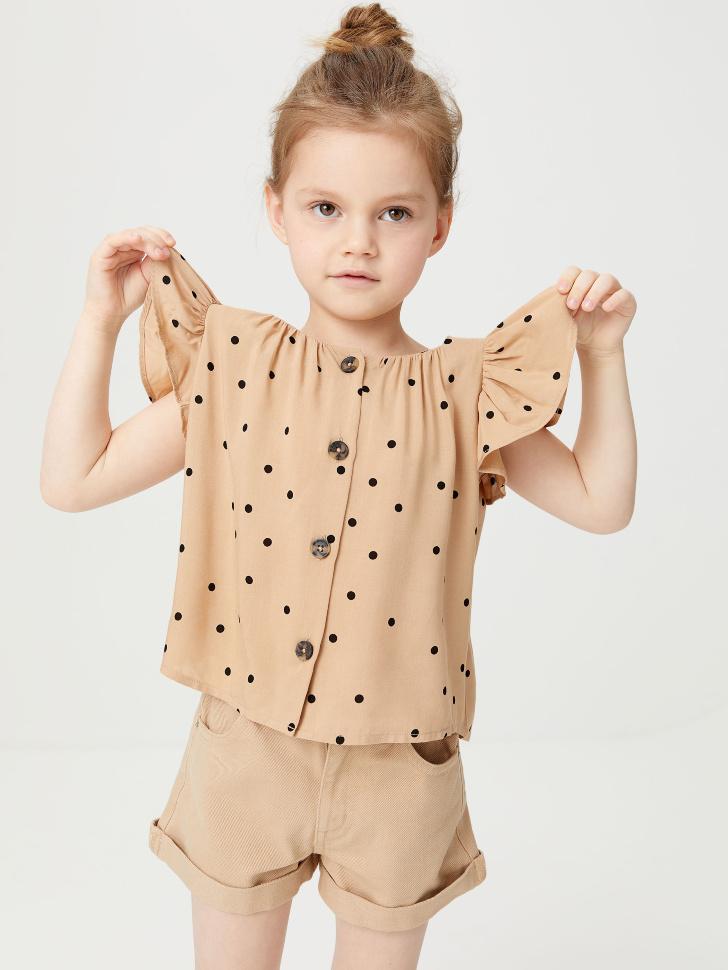 Вискозная блузка для девочек (бежевый, 98/ 3-4 YEARS)