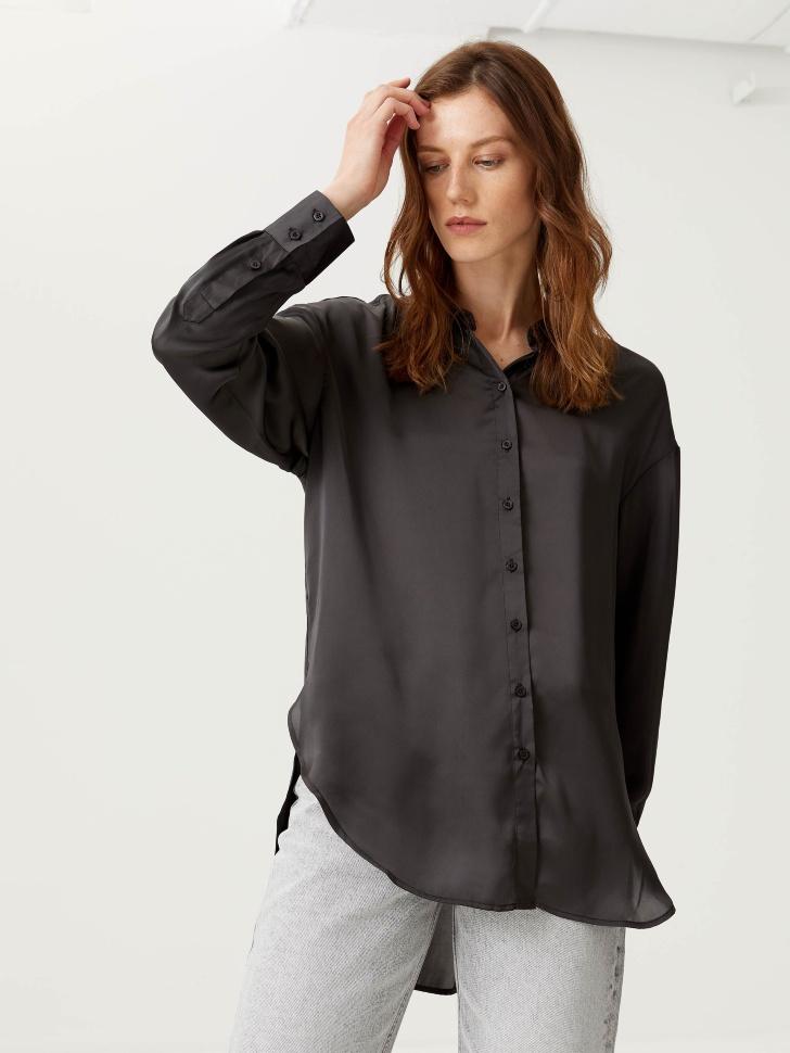 Сатиновая объемная рубашка (серый, S)