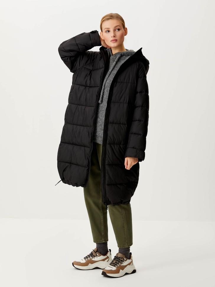 Базовое стеганое пальто (черный, L)