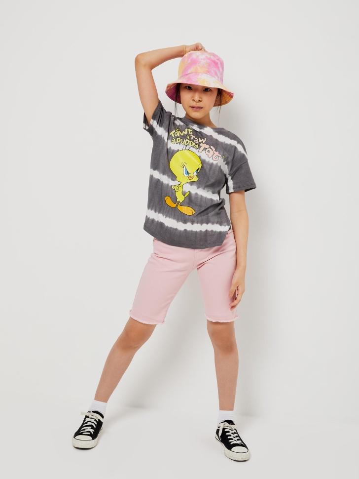 шорты джинсовые для девочек (розовый, 140/ 10-11 YEARS)