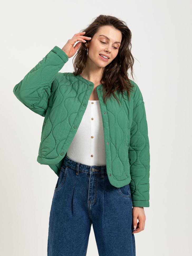 куртка стеганая (зеленый, XS)