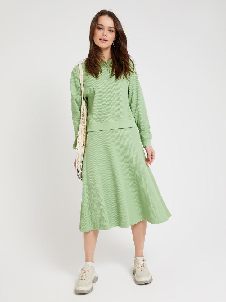 юбка миди из фактурного трикотажа (зеленый, M)