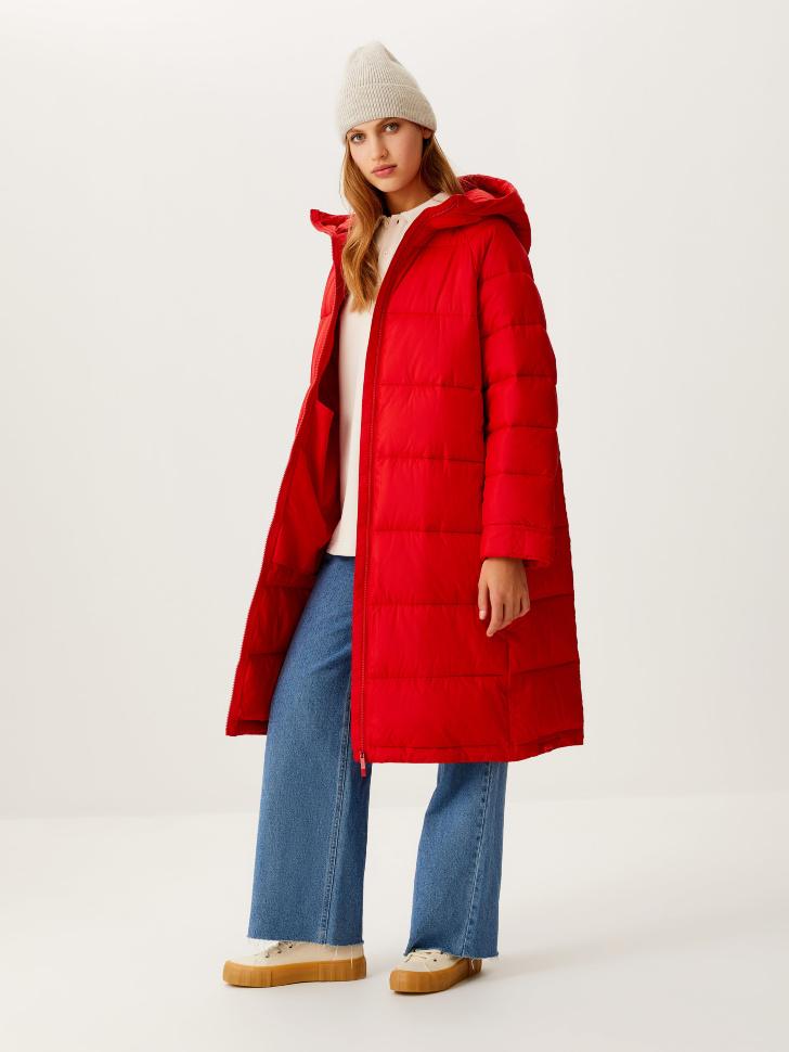 Базовое стеганое пальто (красный, S)