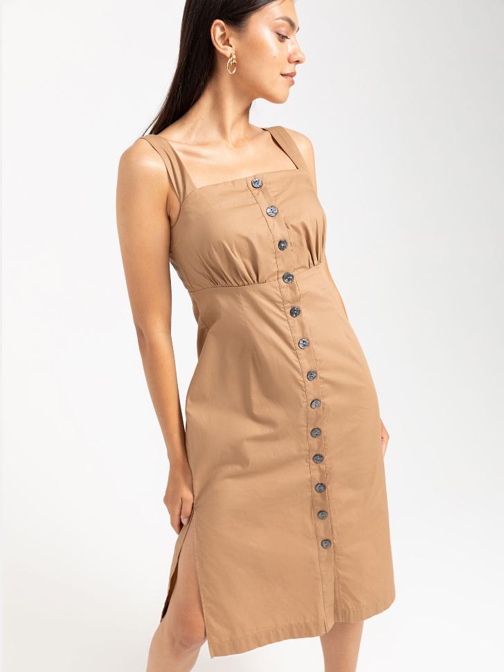 SELA Платье на широких бретелях (бежевый, M)