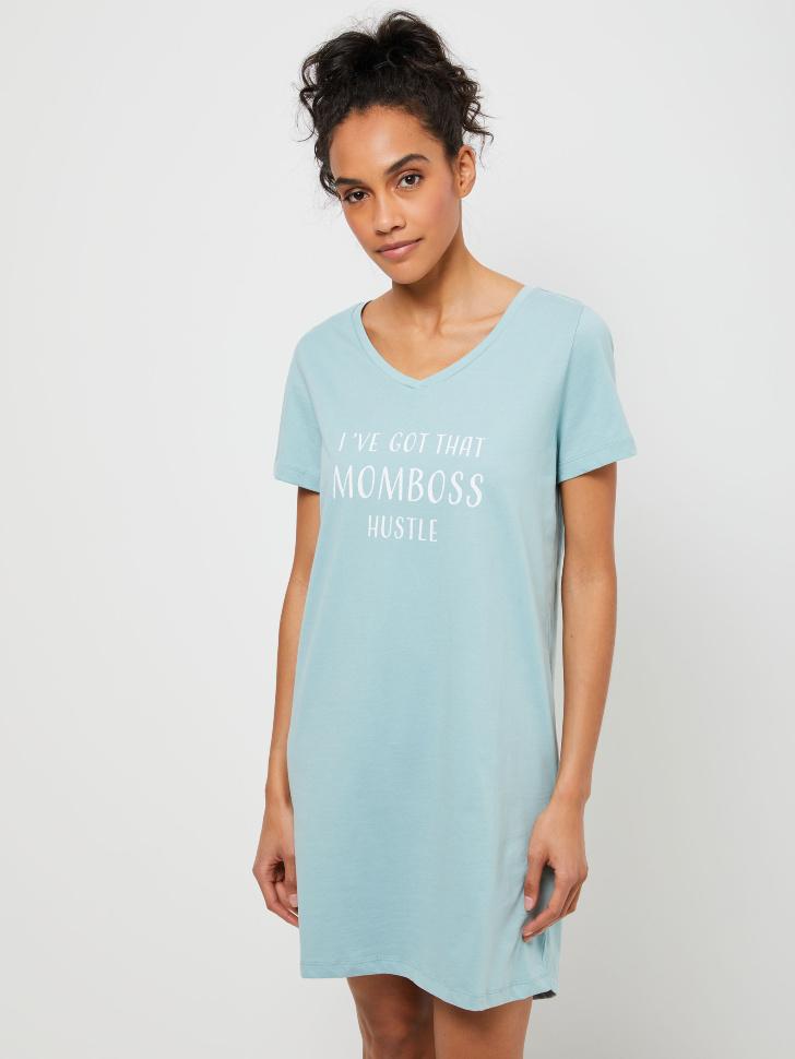 Трикотажная ночная сорочка с принтом (голубой, L)