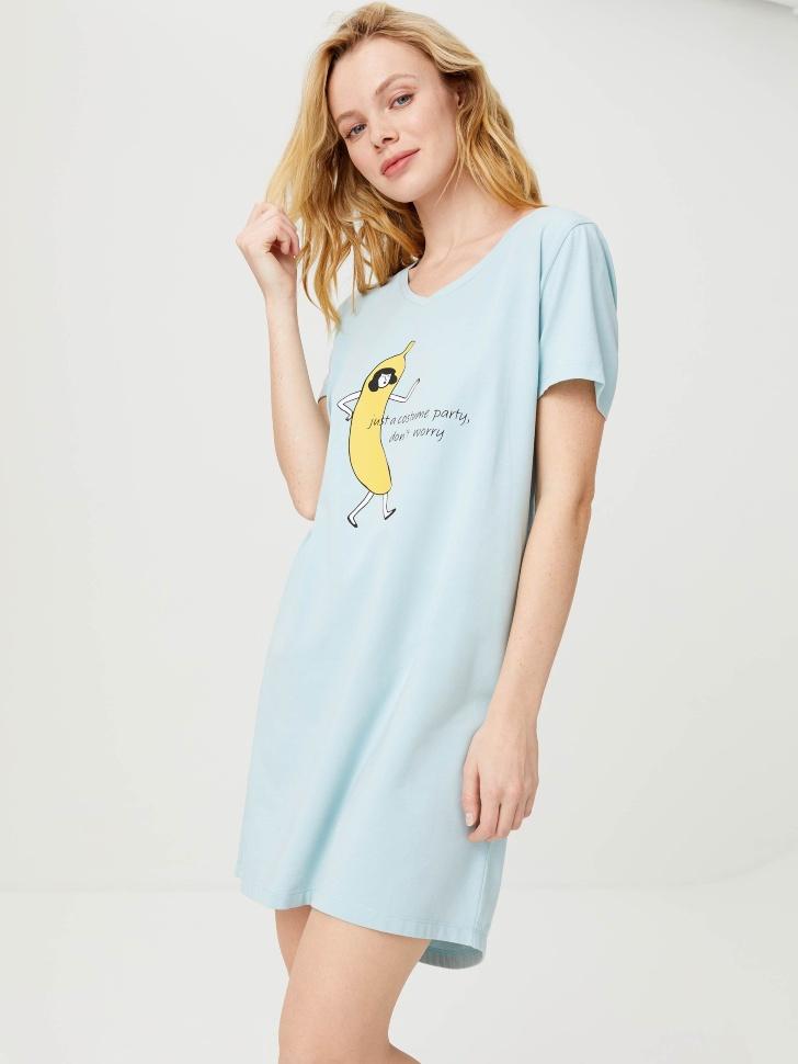Ночная сорочка с принтом (голубой, L)