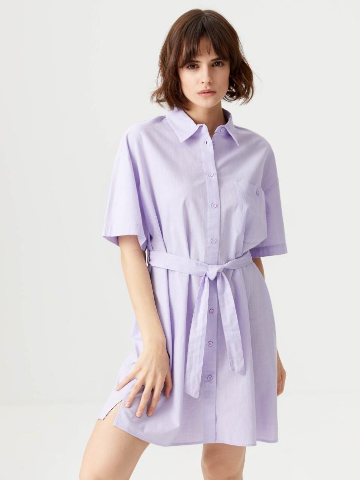 Хлопковое платье-рубашка (сиреневый, XS)