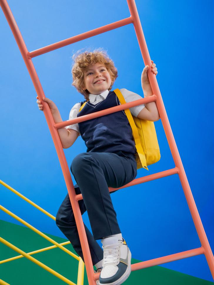 Школьный вязаный жилет для мальчиков (синий, 134/ 9-10 YEARS)
