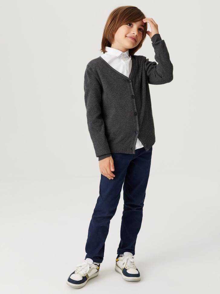 Классический кардиган для мальчиков (серый, 140/ 10-11 YEARS)