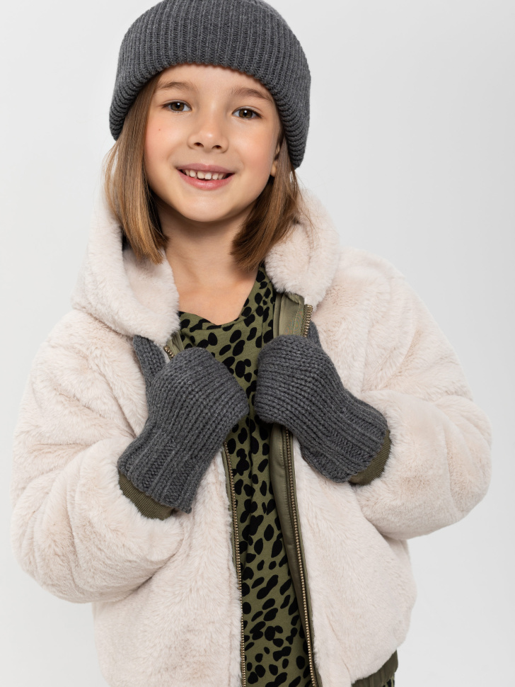 варежки для девочек (серый, 5 - 8 YEARS)