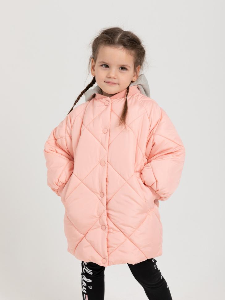 куртка для девочек с трикотажным капюшоном (розовый, 110/ 5-6 YEARS)