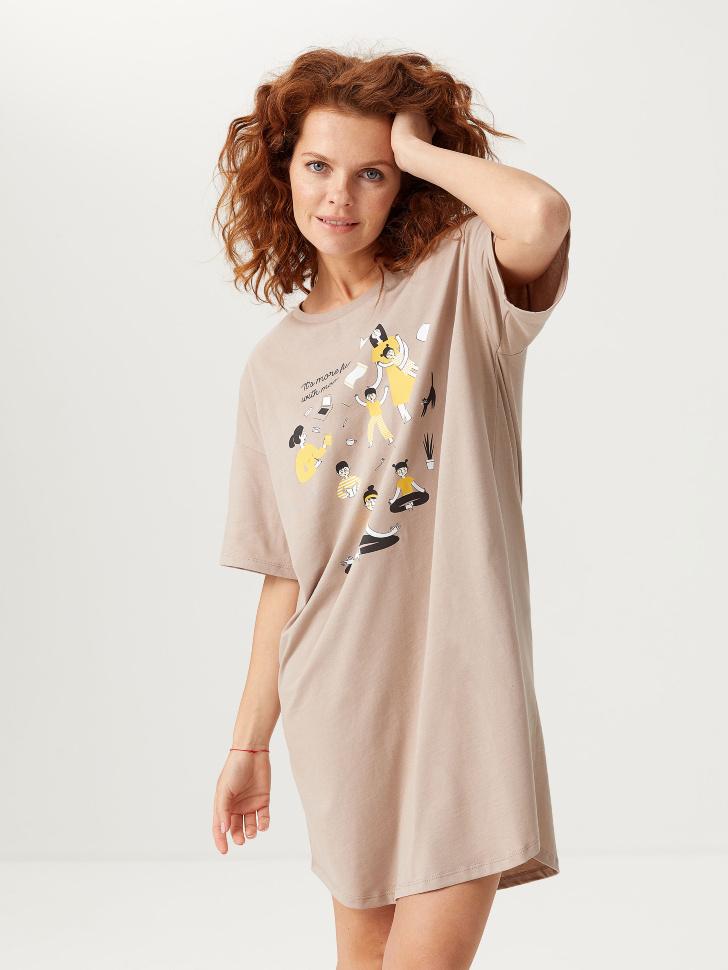 Ночная сорочка с принтом (коричневый, S)