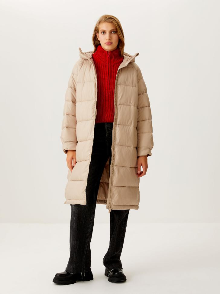 Базовое стеганое пальто (бежевый, XL)