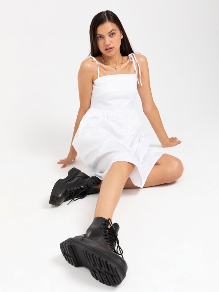 SELA Платье на тонких бретелях (белый, M)