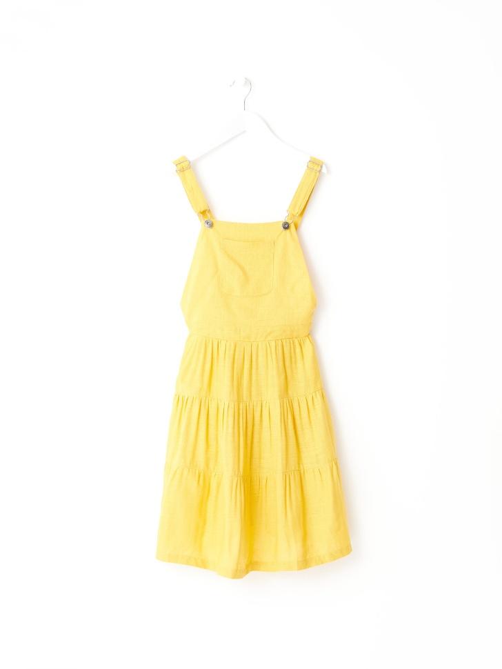 Сарафан с ярусной юбкой для девочек (желтый, 122/ 7-8 YEARS)