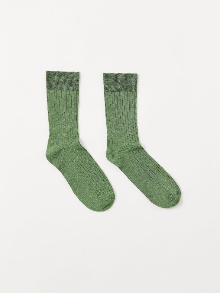 Носки в рубчик (зеленый, 23-25)