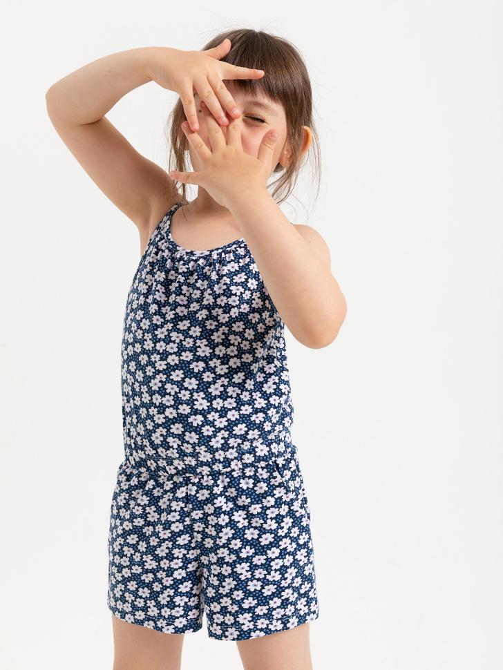 SELA Трикотажный комбинезон для девочек (синий, 116/ 6-7 YEARS)