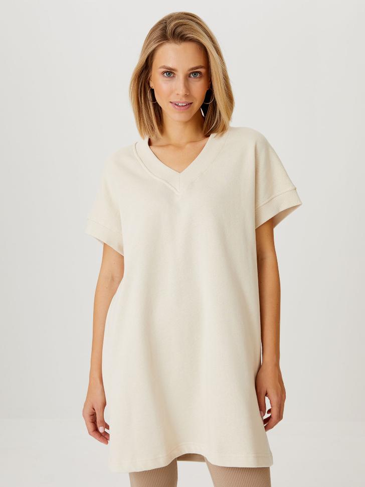 Трикотажное платье-жилет (белый, L)