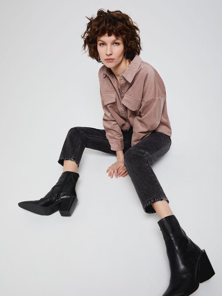 Рубашка из вельвета (коричневый, M)