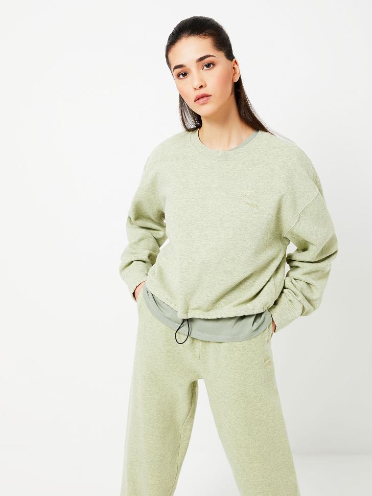 Укороченный свитшот с вышивкой (зеленый, S)