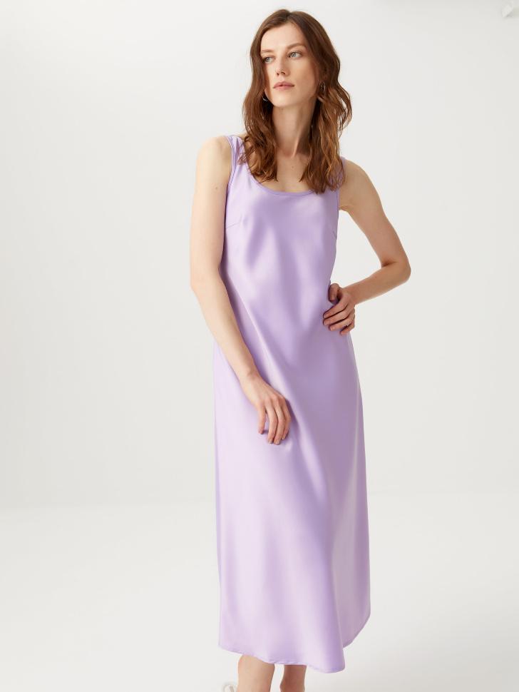 Атласное платье миди (сиреневый, XS)