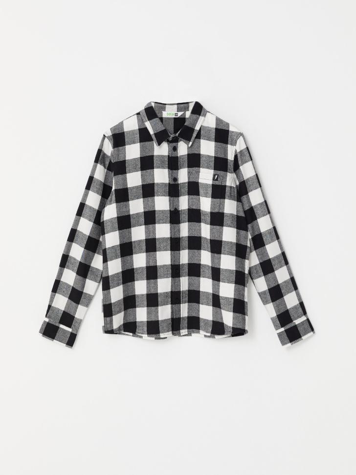 Рубашка в клетку для мальчиков (черный, 146/ 11-12 YEARS)