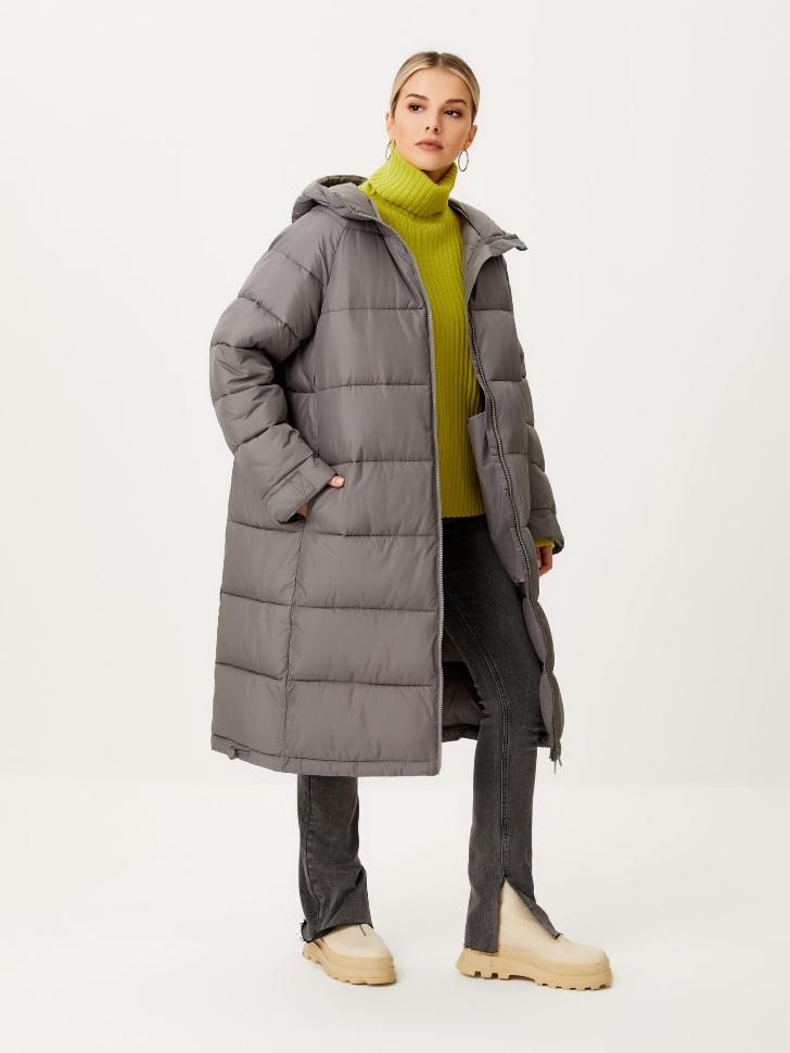 Базовое стеганое пальто (серый, M)