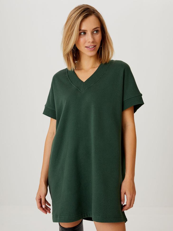 Трикотажное платье-жилет (зеленый, M)