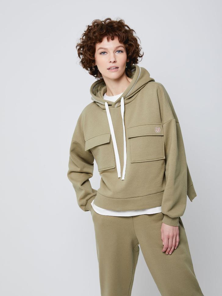 SELA Худи с накладными карманами (зеленый, S)
