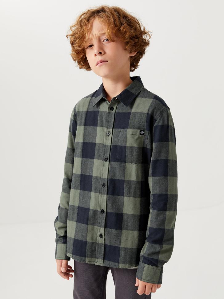 Рубашка в клетку для мальчиков (зеленый, 134/ 9-10 YEARS)