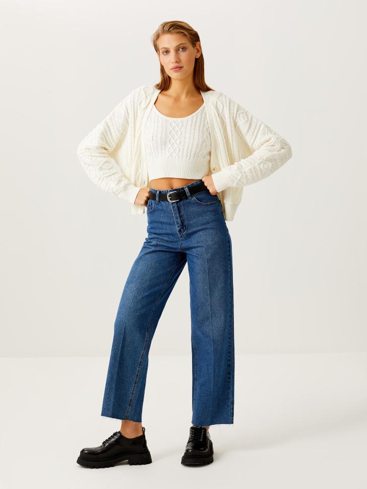 Укороченные джинсы со стрелками (синий, XXS)