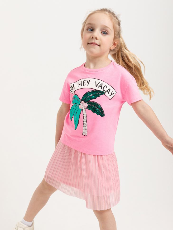 SELA Футболка с вышивкой из пайеток для девочек (розовый, 92/ 2-3 YEARS)