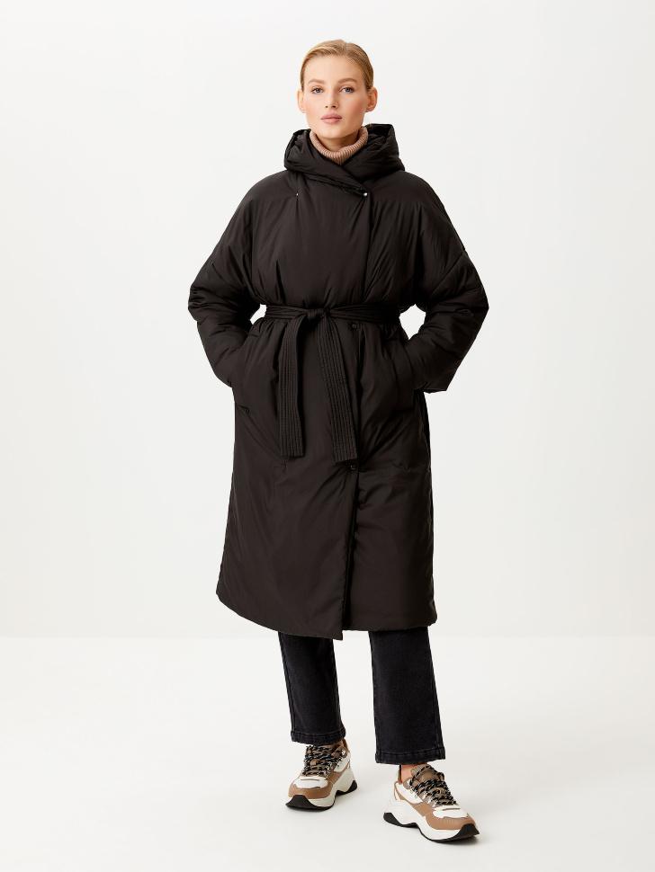 Пальто-халат с капюшоном (черный, XS)