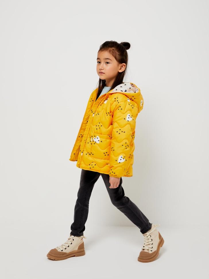 Стеганая куртка с сумкой для девочек (желтый, 104/ 4-5 YEARS)