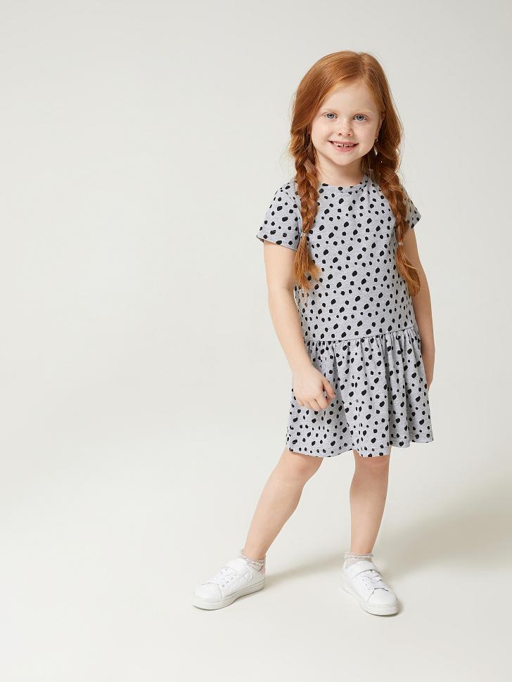 Купить со скидкой платье для девочек в горошек (серый, 98)