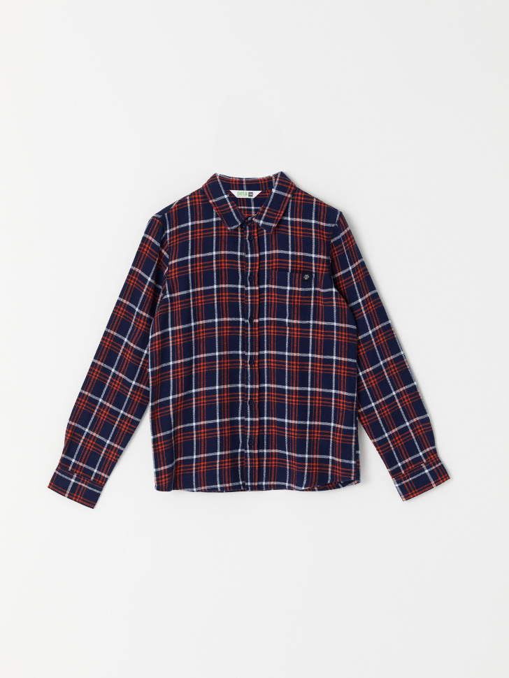 Рубашка в клетку для мальчиков (синий, 134/ 9-10 YEARS)