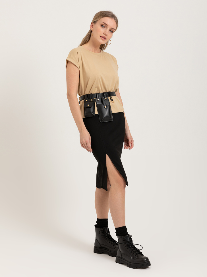 SELA юбка с разрезом (черный, M)