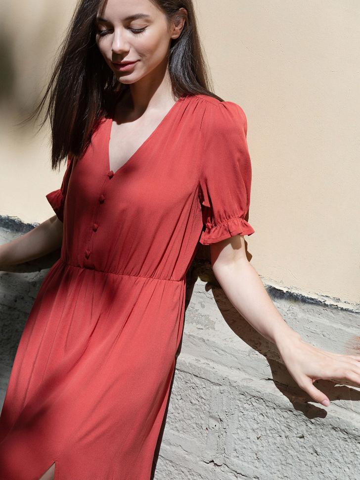 SELA Платье с разрезом (коричневый, S)