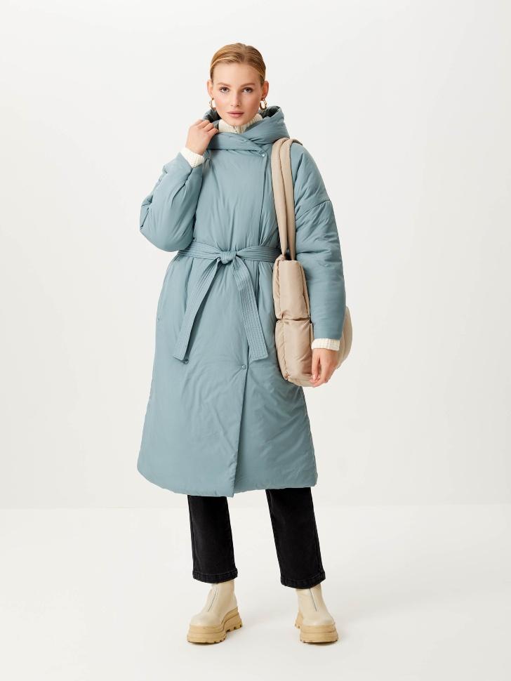 Пальто-халат с капюшоном (зеленый, M)
